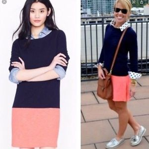 JCrew Colour block Dress Tunic Navy Peach/Orange S